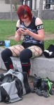 Derby Demon Anita Jambayou prepares for the day's game.