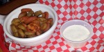 Bottlecaps ($5.49) are green and red jalapenos battered, fried and served with ranch dressing. The batter is light and almost reminds me of tempura. This is a great appetizer with a little heat and the addition of red peppers adds a little variety to the look of the dish. This got a thumbs up from Lucas.