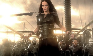 Eva Green stars as Artemisia, the only Persian fleet commander discussed in detail by Herodotus. Although portrayed as a villain in the film, she is a strong female character in a male-dominated story. Photo courtesy of Warner Brothers and Legendary Pictures.