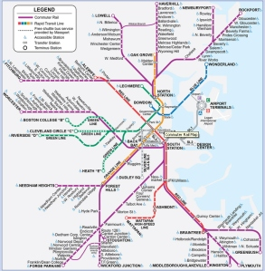Boston's public transit includes a train system that runs throughout the eastern part of the state.  I'm intimidated already!