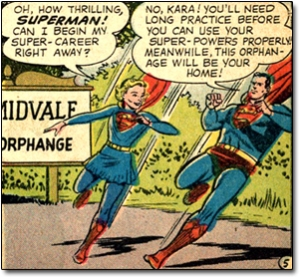 Rather than letting her help save people, Superman insists that Supergirl go live at an orphanage. Action Comics #252 (1959). Courtesy DC Comics