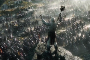 Azog kindly leads moviegoers to the exit after a butt-numbing three hours of watching The Battle of the Five Armies.